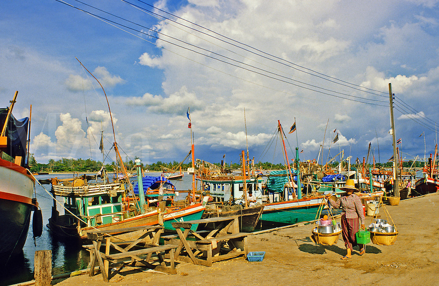 Thailand. Songkla. Fishing boat harbour/harbor.
