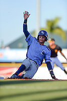 Charlotte Stone Crabs third baseman Andrew Velazquez (1) slides into third during a game against the Bradenton Marauders on April 22, 2015 at McKechnie Field in Bradenton, Florida.  Bradenton defeated Charlotte 7-6.  (Mike Janes/Four Seam Images)