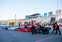 Sep 26, 2020; Gainesville, Florida, USA; Crew members for NHRA top fuel driver Doug Kalitta during qualifying for the Gatornationals at Gainesville Raceway. Mandatory Credit: Mark J. Rebilas-USA TODAY Sports
