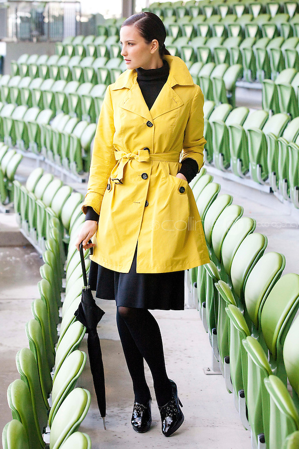 29/9/2010. Marks and Spencer's new Autumn Winter Fashion Collection. Model Baiba Gaile is pictured wearing a black polo neck EUR20, yellow rain mac EUR54 and jersey skirt EUR40 at the Aviva stadium, Dublin for the launch of Marks and Spencer's new Autumn Winter Fashion Collection. Picture James Horan/Collins Photos