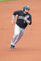 Kane County Cougars first baseman Dan Vogelbach #3 runs during a game against the Cedar Rapids Kernels at Veterans Memorial Stadium on June 9, 2013 in Cedar Rapids, Iowa. (Brace Hemmelgarn/Four Seam Images)