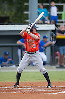 Connor Goedert (20) of the Greeneville Astros at bat against the Burlington Royals at Burlington Athletic Park on August 29, 2015 in Burlington, North Carolina.  The Royals defeated the Astros 3-1. (Brian Westerholt/Four Seam Images)