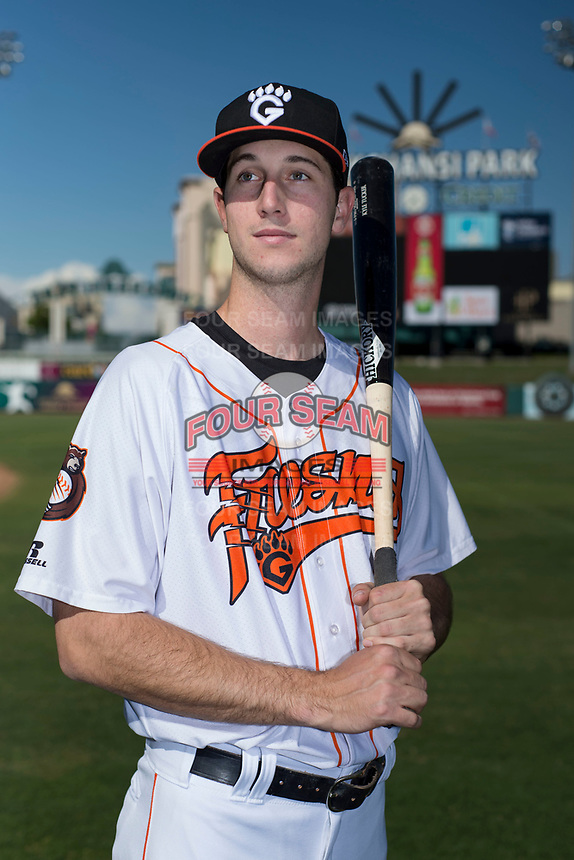 Fresno Grizzlies outfielder Kyle Tucker (32) poses for a photo before a Pacific Coast League game against the Salt Lake City Bees at Chukchansi Park on May 14, 2018 in Fresno, California. Fresno defeated Salt Lake City 4-3. (Zachary Lucy/Four Seam Images)