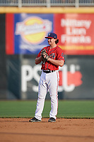 Harrisburg Senators second baseman Dan Gamache (21) during a game against the Akron RubberDucks on August 18, 2018 at FNB Field in Harrisburg, Pennsylvania.  Akron defeated Harrisburg 5-1.  (Mike Janes/Four Seam Images)