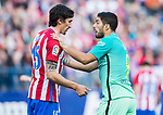 Luis Suarez (r) of FC Barcelona talks to Stefan Savic of Atletico de Madrid during their La Liga match between Atletico de Madrid and FC Barcelona at the Santiago Bernabeu Stadium on 26 February 2017 in Madrid, Spain. Photo by Diego Gonzalez Souto / Power Sport Images