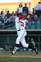 Wes Rogers (24) of the Lancaster JetHawks bats against the Lake Elsinore Storm at The Hanger on June 12, 2017 in Lancaster, California. Lancaster defeated Lake Elsinore, 13-6. (Larry Goren/Four Seam Images)
