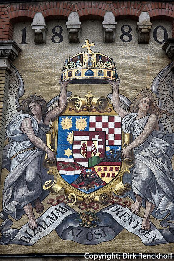 Wandbild am Bollwerk des Burgbergs in Buda, Budapest, Ungarn, UNESCO-Weltkulturerbe