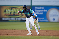 Jhonkensy Noel (29) of the Lynchburg Hillcats takes his lead off of second base against the Myrtle Beach Pelicans at Bank of the James Stadium on May 22, 2021 in Lynchburg, Virginia. (Brian Westerholt/Four Seam Images)