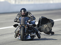 Feb 8, 2020; Pomona, CA, USA; NHRA top fuel nitro Harley Davidson motorcycle rider Tyler Wilson during qualifying for the Winternationals at Auto Club Raceway at Pomona. Mandatory Credit: Mark J. Rebilas-USA TODAY Sports