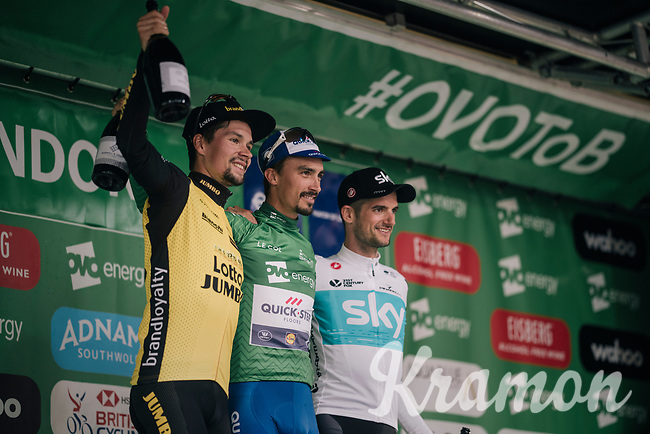 final podium:<br /> 1/ Julian Alaphilippe (FRA/Quick-Step Floors)<br /> 2/ Wout Poels (NED/SKY)<br /> 3/ Primoz Roglic (SVK/LottoNL-Jumbo)<br /> <br /> Stage 8: London to London (77km)<br /> 15th Ovo Energy Tour of Britain 2018