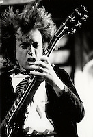 Angus Young of AC-DC rock group perform at Montreal Forum, Nov 13 1986 <br /> <br /> PHOTO : Pierre Roussel - Agence Quebec Presse