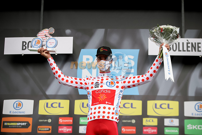 Anthony Perez (FRA) Cofidis retains the mountains Polka Dot Jersey at the end of Stage 5 of Paris-Nice 2021, running 200km from Vienne to Bollene, France. 11th March 2021.<br /> Picture: ASO/Fabien Boukla | Cyclefile<br /> <br /> All photos usage must carry mandatory copyright credit (© Cyclefile | ASO/Fabien Boukla)