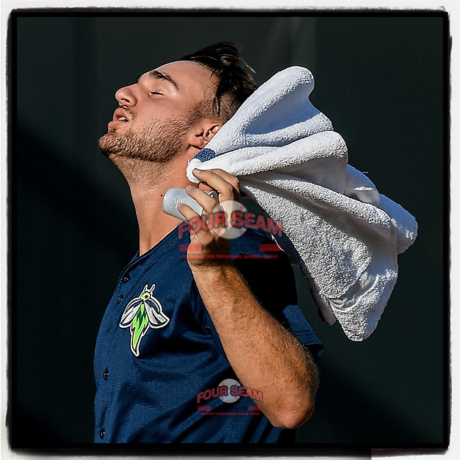Starting pitcher Christian James (30) of the Columbia Fireflies towels off in the afternoon sunshine before a game at Segra Park in Columbia, South Carolina. (Tom Priddy/Four Seam Images) #MiLB