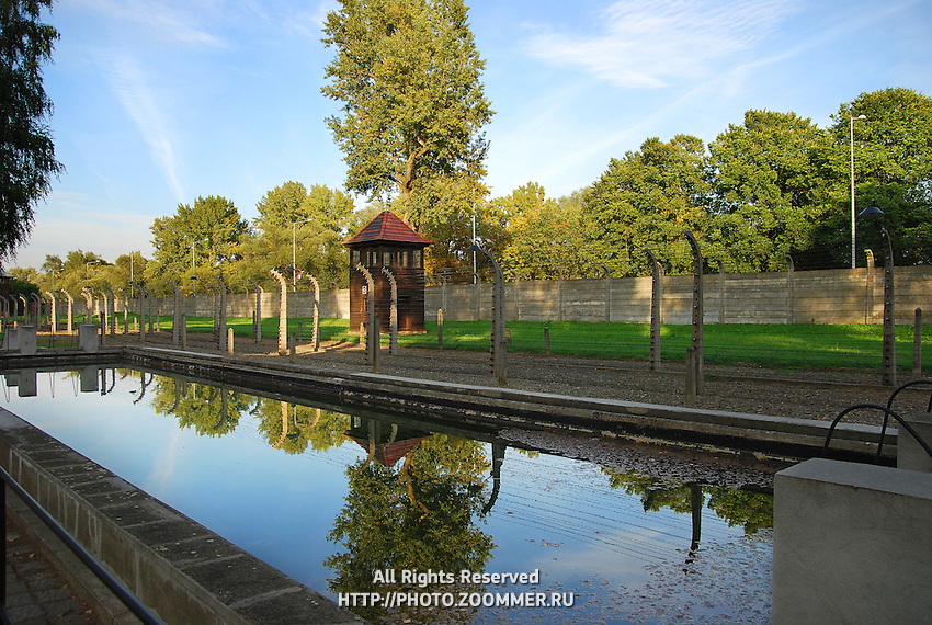 Fire brigade reservoir built in the form of a swimming pool in Auschwitz camp