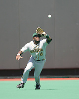Baylor CF Paul Miles catches a fly ball against Texas on May 3rd, 2008. Photo by Andrew Woolley / Four Seam Images.