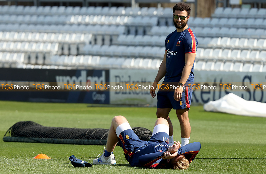 Simon Harmer lies on the floor following a fitness test during Essex CCC vs Kent CCC, Friendly Match Cricket at The Cloudfm County Ground on 30th March 2021