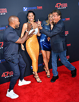 "LOS ANGELES, USA. August 14, 2019: Jamie Foxx, Corinne Foxx, Sistine Stallone & Sylvester Stallone at the premiere of ""47 Meters Down: Uncaged"" at the Regency Village Theatre.<br /> Picture: Paul Smith/Featureflash"