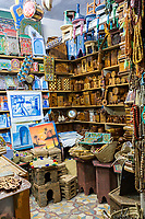Chefchaouen, Morocco.  Woodworker's Shop Selling Boxes, Stools, and Assorted Decorative Items.