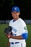Bluefield Blue Jays pitcher Alvaro Galindo (31) poses for a photo before a game against the Bristol Pirates on July 26, 2018 at Bowen Field in Bluefield, Virginia.  Bristol defeated Bluefield 7-6.  (Mike Janes/Four Seam Images)