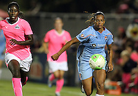 Anita Asante #15 of the Washington Freedom runs after Rosana #11 of Sky Blue FC during a WPS match at Maryland Soccerplex on August 28 2010, in Boyds, Maryland. Freedom won 2-1.