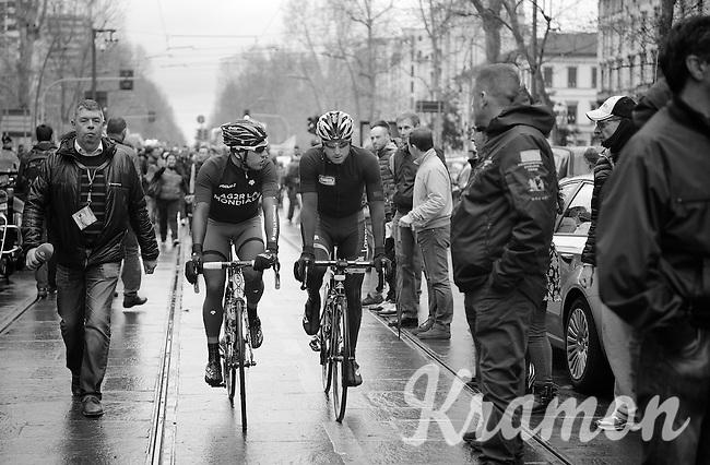 on their way to the start: Rinaldo Nocentini (ITA/Ag2r-LaMondiale) and a fellow rider/countryman<br /> <br /> 2014 Milano - San Remo