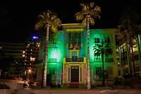 Pour la Saint Patrick, les facades prennent le vert ‡ Cannes, le vendredi 17 mars 2017. # CELEBRATION DE LA ST. PATRICK A CANNES