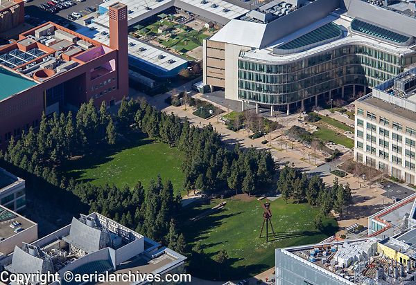 aerial photograph of Koret Quad park, UCSF Medical Center, Mission Bay, San Francisco, California.  The Sandler Neuroscience Center and University Child Care at Mission Bay are in the background.
