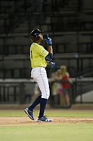 Pinch hitter Shervyen Newton (3) of the Columbia Fireflies celebrates a hit in a game against the Augusta GreenJackets on Friday, May 31, 2019, at Segra Park in Columbia, South Carolina. Augusta won, 8-6. (Tom Priddy/Four Seam Images)