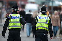 Saturday 14 December 2013<br /> Pictured:Police on the beat in the middle of Swansea City Centre<br /> Re: Towns and City's are busy with shoppers  across the UK as Christmas  is only 10 days away.