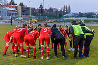 Team Woluwe pictured before a female soccer game between FC Femina White Star Woluwe and Sporting Charleroi on the 2nd matchday of Play off 2 in  the 2020 - 2021 season of Belgian Scooore Womens Super League , friday 16 th of April 2021  in Woluwe , Belgium . PHOTO SPORTPIX.BE   SPP   STIJN AUDOOREN