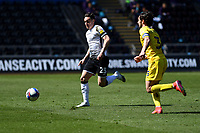 Connor Roberts of Swansea City in action during the Sky Bet Championship match Swansea City and Wycombe Wanderers at Liberty Stadium in Swansea, Wales. Sporting stadiums around the UK remain under strict restrictions due to the Coronavirus Pandemic as Government social distancing laws prohibit fans inside venues resulting in games being played behind closed doors.<br /> Saturday 17 April 2021