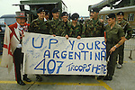 Falklands War British soldiers wait to depart from Southampton on the QE2 with  mascot man England May 1982 1980s UK