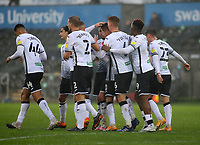 21st November 2020; Liberty Stadium, Swansea, Glamorgan, Wales; English Football League Championship Football, Swansea City versus Rotherham United; Swansea City players celebrate after Matt Grimes of Swansea City score his sides first goal making it 1-0 in the 28th minute