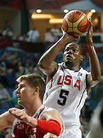 Kevin DURANT (USA)  shoots over Andrey VORONTSEVICH (Russia)  during the quarter-final World championship basketball match against Russia in Istanbul, USA-Russia, Turkey on Thursday, Sep. 09, 2010..