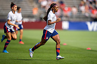 EAST HARTFORD, CT - JULY 5: Crystal Dunn #2 of the USWNT warms up during a game between Mexico and USWNT at Rentschler Field on July 5, 2021 in East Hartford, Connecticut.