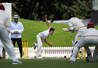 Will Williams bowls during day three of the Plunket Shield match between the Wellington Firebirds and Canterbury at Basin Reserve in Wellington, New Zealand on Wednesday, 21 October 2020. Photo: Dave Lintott / lintottphoto.co.nz