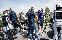 The 15th stage came to an abrupt halt after just a few minutes (3km) of racing following a large crash that forced the race to temporarily be neutralized as medical assistence was temporarily stretched to the max. <br /> Gianni Vermeersch (BEL/Alpecin-Fenix) getting some medical assistance where his surface wounds are treated.<br /> <br /> <br /> 104th Giro d'Italia 2021 (2.UWT)<br /> Stage 15 from Grado to Gorizia (147km)<br /> <br /> ©kramon