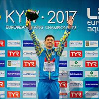 1m. Men Podium (L to R) Patrick Hausding GER Silver Medal, Iliya Kvasha UKR Gold medal, Mathieu Rosset FRA Bronze medal<br /> 1 m. Men Springboard Podium<br /> LEN European Diving Championships 2017<br /> Sport Center LIKO, Kiev UKR<br /> Jun 12 - 18, 2017<br /> Day03 14-06-2017<br /> Photo © Giorgio Scala/Deepbluemedia/Insidefoto