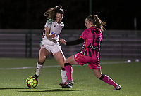 Estee Cattoor (11 OHL) and Chrystal Lermusiaux (2 Charleroi) battle for the ball during a female soccer game between Oud Heverlee Leuven and Sporting de Charleroi on the seventh matchday of the 2020 - 2021 season of Belgian Womens Super League , sunday 15 th of November 2020  in Heverlee , Belgium . PHOTO SPORTPIX.BE | SPP | SEVIL OKTEM