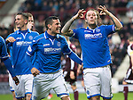 Hearts v St Johnstone....02.11.13     SPFL<br /> Stevie May celebrates with a moustache<br /> Picture by Graeme Hart.<br /> Copyright Perthshire Picture Agency<br /> Tel: 01738 623350  Mobile: 07990 594431