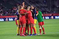 CARSON, CA - FEBRUARY 07: Jayde Riviere #8 and Shelina Zadorsky #4 of Canada celebrate their win over Costa Rica and book a trip to the 2020 Tokyo Olympics during a game between Canada and Costa Rica at Dignity Health Sports Park on February 07, 2020 in Carson, California.