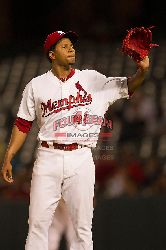Memphis Redbirds starting pitcher Carlos Martinez (41) against the New Orleans Zephyrs in the Pacific Coast League baseball game on June 12, 2013 at Autozone Park in Memphis, Tennessee. Memphis defeated New Orleans 9-3. (Andrew Woolley/Four Seam Images)