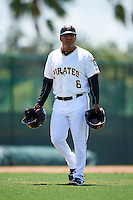GCL Pirates manager Edgar Varela (6) during a game against the GCL Yankees East on August 15, 2016 at the Pirate City in Bradenton, Florida.  GCL Pirates defeated GCL Yankees East 5-2.  (Mike Janes/Four Seam Images)