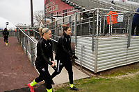 Piscataway, NJ - Sunday April 15, 2018: Megan Oyster, Yael Averbuch prior to a regular season National Women's Soccer League (NWSL) match between Sky Blue FC and the Seattle Reign FC at Yurcak Field.