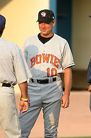 August 18, 2005:  Coach Don Werner of the Bowie BaySox during a game at Metro Bank Park in Harrisburg, PA.  Bowie is the Eastern League Double-A affiliate of the Baltimore Orioles.  Photo by:  Mike Janes/Four Seam Images