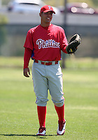 March 30, 2010:  Catcher Marco Davalillo of the Philadelphia Phillies organization during Spring Training at Carpenter Complex in Clearwater, FL.  Photo By Mike Janes/Four Seam Images