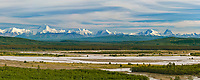 Panorama view of the Alaska Range and the Tanana River, just south of Fairbanks, Alaska. mountain peaks from right to left: Deborah, Hess, skarland, geist, Hayes.