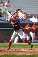 Batavia Muckdogs outfielder Brandon Rawe (22) at bat during a game against the Auburn Doubledays on September 7, 2015 at Falcon Park in Auburn, New York.  Auburn defeated Batavia 11-10 in ten innings.  (Mike Janes/Four Seam Images)