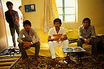 Marsh Arabs. Southern Iraq.  Marsh Arab men in wealthy family home in Baghdad. 1984