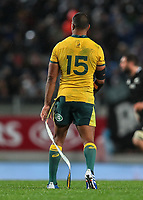 Kurtley Beale with his ripped jersey during the Bledisloe Cup rugby match between the New Zealand All Blacks and Australia Wallabies at Eden Park in Auckland, New Zealand on Saturday, 17 August 2019. Photo: Simon Watts / lintottphoto.co.nz